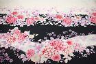 Black Floral Japanese Oriental Kimono Fabric Cotton Fat Quarter FQ #F0047