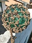 """Vintage Glass Fishing Buoy Large 12"""" Blue Green with Net"""