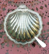 Antique Silverplate England Clam Shell Covered Serving Dish Dip Glass Insert