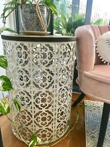 Large MOROCCAN DRUM TABLE Metal& Timber  Side Coffee Bedside Hamptons Coastal