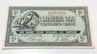 1962 Canadian Tire Five 5 Cents CTC-7-A1 Money Bonus Banknote D024