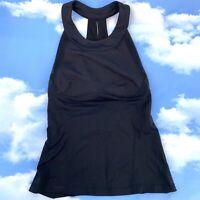 Lululemon Womens 6 Tank Top w/ Built In Bra No Padding Black Athleisure Gym