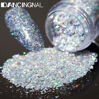 5Pot/Set Silver Glitter Eye Shadow Chunky Holographic Eyeshadow Nail Art Powder