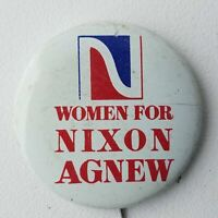 Women For Nixon Agnew Campaign Pin Back Button