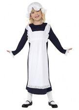 VICTORIAN OLDEN DAYS POOR SCHOOL GIRL COSTUME GIRLS MEDIUM DRESS HAT age 7 to 9