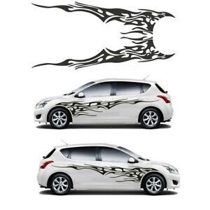2pcs Black Fire Totem Decal Vinyl Graphics Car Body Decoration Sticker Universal