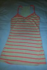 Sleeveless Crochet Back Top in Orange and Off White Strips Size Small; NWT