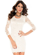 HOT Hollow out Back Double Deck Lace Mini Dress White