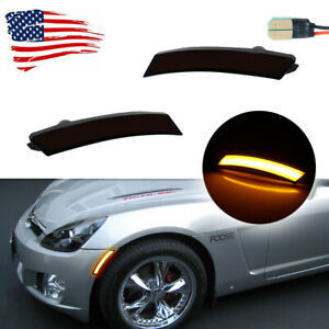For 06-10 Pontiac Solstice & Saturn Sky Smoked Amber LED Front Sidemarker Lamps