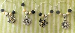 Bumblebee 4 pack wine glass charms bumblebee home accessories gifts