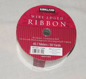 """Kirkland Wire Edged Ribbon White with Silvertone Edges 50 Yards 2.5"""" Style 7B24"""