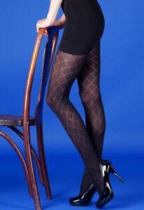 Quality Tights UK Black Diamond Pattern Opaque Winter Warmers NEW