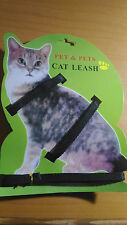 Imbracatura per gatto guinzaglio gatti passeggiare nylon colore nero