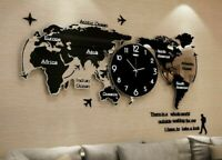 Wall Clocks 3D Ultra Quiet Acrylic Watch World Map Modern Home Decorations Clock