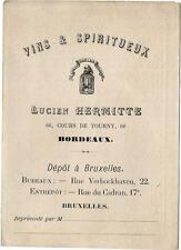 Bordeaux ,66 cours Tourny. Tarif des vins 1890. Maison Hermitte.