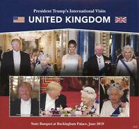 Antigua & Barbuda Donald Trump Stamps 2020 MNH Visits Queen Elizabeth II 3v M/S