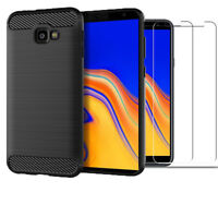 For Samsung Galaxy J4+ (Plus) Case Carbon Cover & Glass Screen Protector
