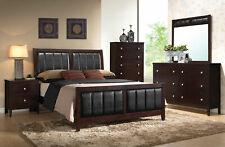 NEW Modern Brown Wood & Leatherette Furniture - REINA 5pcs King Size Bedroom Set