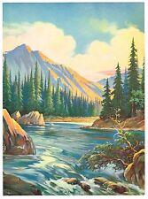 VINTAGE CALENDAR ART PRINT 1930S RIVER OF PINES FIELD & STREAM TREES ORIGINAL