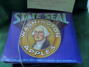 Lot of over 800 STATE SEAL Vintage Apple Crate Labels, George Washington-1940's