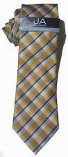 "NEW Mens Tie Necktie Yellow Blue Plaid Stripe Slim John Ashford 3 1/4"" A3564"