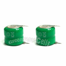 2 pcs 80mAh 2.4V Volt Ni-MH Button Cell Rechargeable Battery with Tab US Stock