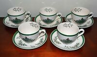 "Spode VINTAGE ""Christmas Tree"" Tea Cup, Saucer MADE in ENGLAND, China, Set of 5"