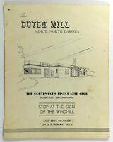 1960's Vintage Menu THE DUTCH MILL Restaurant Nite Club Minot North Dakota