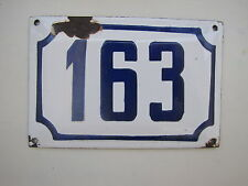 Enamel porcelain ST. HOUSE number 163 house sign # 163 Genuine  vintage ISRAELI
