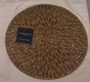 Cynthia Rowley  GLASS BEADED  Placemat Charger NEW  Gold Design