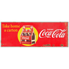 Drink Coca-Cola Take Home a Carton Decal 24 x 9 Distressed Vintage Style Decor