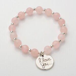 Rose Quartz Bracelet I Love You Charm Chakra Reiki Healing Gemstone Crystal UK