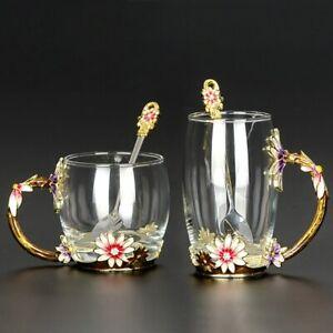 Flower Tea Set Cup Resistant Heat Crystal Glass Mug Coffee Water Milk Drinkware