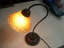 VINTAGE ART DECO BRASS DESK LAMP WITH GLASS DOTTED SHADE