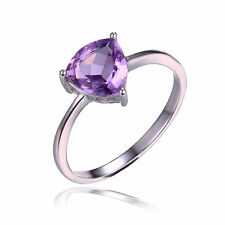 1.1ct Stunning Amethyst Trilion Solid Sterling Silver Ring Size 9 Gift