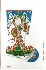 NEEDLEPOINT HANDPAINTED Canvas LEE Christmas Stocking ELEGANT SANTA 13M