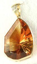 VTG 1990'S CUSTOM HAND MADE LARGE 14K GOLD CARVED CITRINE OMEGA PENDANT NECKLACE