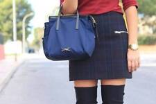 ZARA NAVY BLUE TARTAN CHECKED MINI SKIRT WITH ZIPS SIZE LARGE L **BLOGGERS**