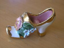 "Vintage Dresden Porcelain Shoe Applied Flowers & Gilting 3 1/4"" x 2 3/8"" x 1/2"""