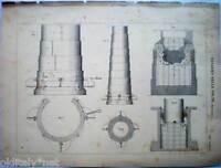 1888 stampa incisione -Meccanica-DISARMO DELLE VOLTE- Tav.236