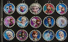 15 Frozen Flat SILVER Bottle Cap Necklaces Set 04