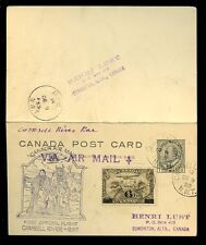 CANADA FIRST FLIGHT 1933 KE7 REPLY PAID STATIONERY...CAMSELL RIVER to RAE