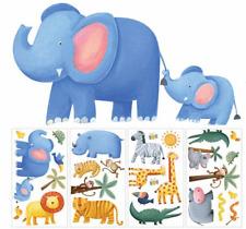 RoomMates 26 Stck Wandtattoo Dschungel Tiere Abenteuer Elefant Löwe Krokodil