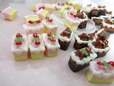 20 Chocolate & Strawberry Cake Slice Resin Miniature/pink/brown/Craft/Doll B162