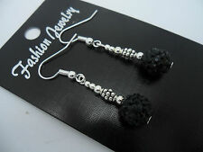 Black Shamballa Style Earrings. A Pair Of Dangly