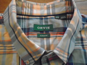 NWOT Orvis XXL Long sleeve button up shirt Active Fit orange blues plaid. RV $89