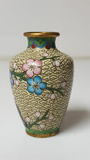 "Vintage Cloisonne Vase yellow floral pattern pink blue green 3"""