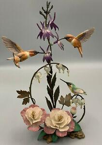 "Franklin Mint House of Faberge ""Splendour in the garden"" Hummingbirds Sculpture."