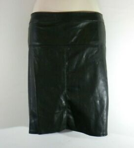 Women's Black Looks Leather INTUITION Zip Straight Mini Casual Skirt Size 18 L19