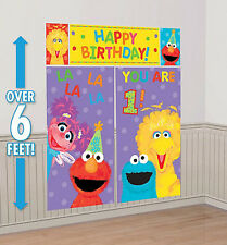 SESAME STREET childs 1st Happy Birthday Scene Setter first Party wall decoration